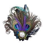 CHUANGLI 1920s Gatsby Roaring 20s Flapper Headband Peacock Feather Alligator Clip
