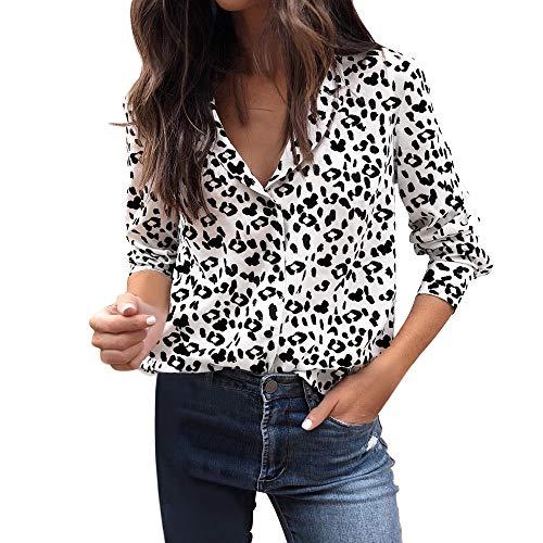 VJGOAL Mujeres otoño Casual Moda Leopardo impresión Blusa de Manga Larga botón Solapa Pullover Tops Camisa(XL,Blanco)