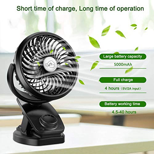 COMLIFE F170 Clip On Stroller Fan - Auto Oscillation Fan - 5000 mAh Battery Operated Fan, USB Desk Fan Stepless Speeds Control, Powerful Airflow for Hurricane, Camping, Office, Car