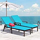 Tangkula 2 PCS Patio Rattan Chaise Lounge Chair, Outdoor Reclining Chaise with Cushion and Armrest, Wicker Sun Lounger with Adjustable Backrest for Garden, Balcony, Poolside (Turquoise)