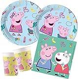 ILS I LOVE SHOPPING Juego de vajilla para fiestas de Peppa Pig con 8 platos de 23 cm, 8 vasos y 20 servilletas (Peppa Pig)