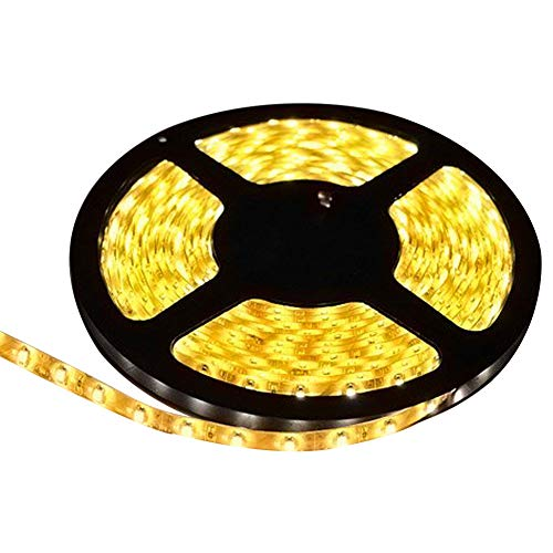 FAVOLCANO LED Strip Light, Warm White, IP65 Waterproof, 12V DC, SMD 3528, 300 LEDs, 60Leds/M, 16.4 ft/5M Flexible LED Tape for Thanksgiving, Christmas, Home, Car, Bar, Club, Indoor, Outdoor Decoration