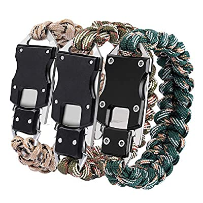 HNYYZL 3 Pack Paracord Bracelet Multiple Function Tactical Survival Paracord Knife Bracelet Emergency Gear with Strong 7 core Rope and Sharp Knife, for Outdoor Camping Hiking(3 Colors)