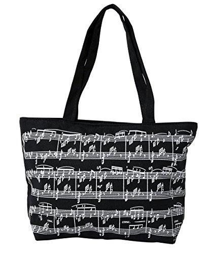 Gewa 975005 Tote Bag Note Musicali, 30 X 22 cm, Nero