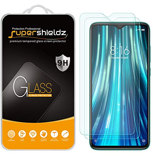 (2 Pack) Supershieldz for Xiaomi (Redmi Note 8 Pro) Tempered Glass Screen Protector, Anti Scratch, Bubble Free