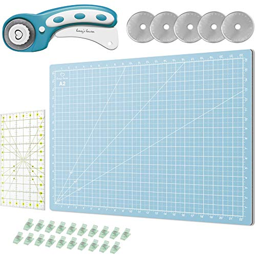 Rotary Cutter Set Turquoise - Quilting Kit incl. 45mm Rotary Cutter, 5 Replacement Blades, A2 Cutting Mat, Acrylic Ruler and Craft Clips - Ideal for Crafting, Sewing, Patchworking, Crochet & Knitting