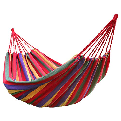 SHFAMHS Hamaca de Camping con Bolsa de Transporte para Patio, Porche, jardín, Patio Trasero, Descanso al Aire Libre e Interior (Arco Iris Doble)