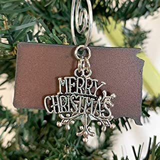 SOUTH DAKOTA Christmas Ornament SMALL, Gift Boxed, Hand Stamped Metal Ornament Handmade in the USA