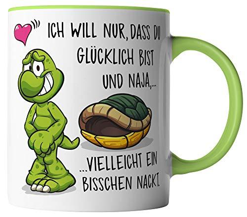 vanVerden Tasse - Ich will das du glücklich bist und vielleicht ein bisschen nackt - beidseitig Bedruckt - Geschenk Idee Valentinstag Liebe Love mit Spruch, Tassenfarbe:Weiß/Grün