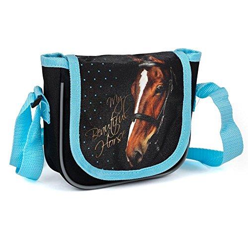 Kinder Handtasche 17x15x4 cm - Motiv Pferd - SCHWARZ