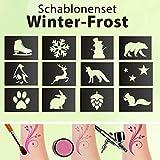 Tattoo Schablonen SET Kinder Winter-Frost 12 Schablonen Selbstklebend schminken Airbrush Geschenk