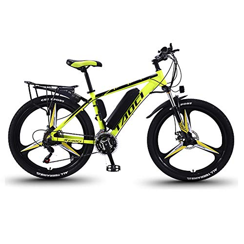 Electric Bikes for Adult, Mens Mountain Bike, Magnesium Alloy Ebikes Bicycles All Terrain,26' 36V 350W Removable Lithium-Ion Battery Bicycle Ebike, for Outdoor Cycling Travel Work Out,Yellow,13Ah80Km