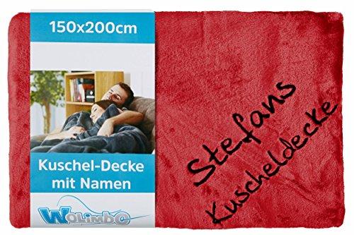 Wolimbo Wohndecke Kuscheldecke mit Namen Bestickt Farbe: rot Größe: 200x150cm Flauschdecke
