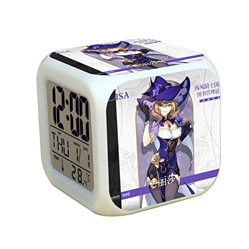 XKUN Original Dios 7 colores cambiantes reloj digital LED despertador encantador de dibujos animados noche luz despertador para niños, regalos de cumpleaños, estilo 52