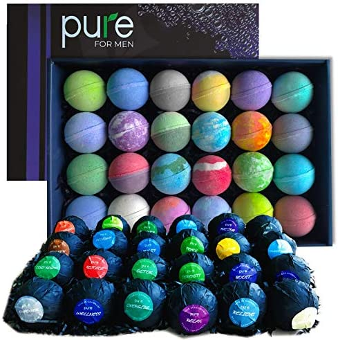 Men s Bath Bombs Gift Set 24 Therapeutic Shea Bath Bombs for Men Large Spa Fizzers with Moisturizing product image