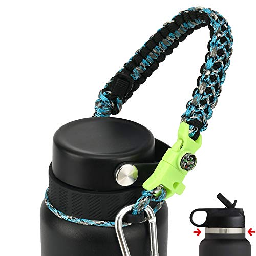 QeeCord Paracord Handle Compatible with Hydro Flask 2.0 Wide Mouth Water Bottle Carrier with New Ring and Carabiner, 12oz, 16oz,18oz, 32oz, 40oz, 64oz (Camo Blue, 32 oz-40 oz (Wide Mouth))