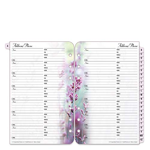 FranklinCovey Compact Floral Blooms Address/Phone Tabs