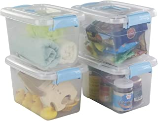 Ggbin 7.5 Quart Plastic Storage Box with Blue Latching Lid, Clear Bin Organizer, 4 Packs