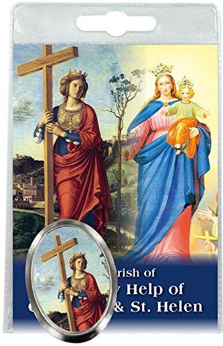 Imán Santa Elena de metal niquelado con oración en inglés (paquete de 3 piezas)