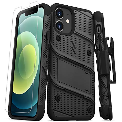 ZIZO Bolt Series for iPhone 12 Mini Case with Screen Protector Kickstand Holster Lanyard - Black