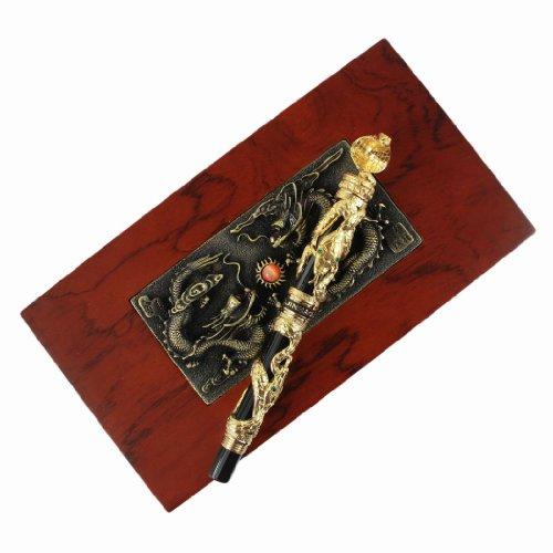 Jinhao Penna stilografica nera e Golden Snake 3D del modello, nuovo in scatola