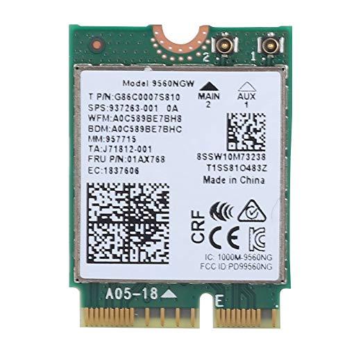 ASHATA WLAN Netzwerk Karte,PCIe-Karte Drahtloser Dual Band 2,4 G+5 G PCI-E Express Adapter,1.73Gbps Bluetooth 5.0 + Wi-Fi NGFF Wireless WiFi Card für Intel 9560AC 9560NGW