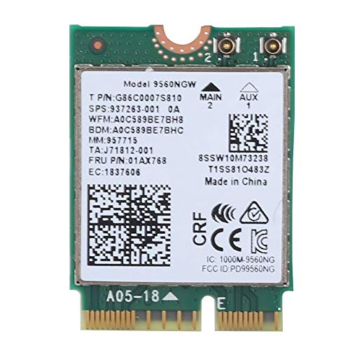 Wireless WiFi Card for Intel 9560AC NGW, 1730Mbps 2.4G/5G Dual Band Bluetooth 5.0 Network Card for Samsung/Dell/Sony/ACER/ISUS/MSI/Clevo/Terransforce/Hasee