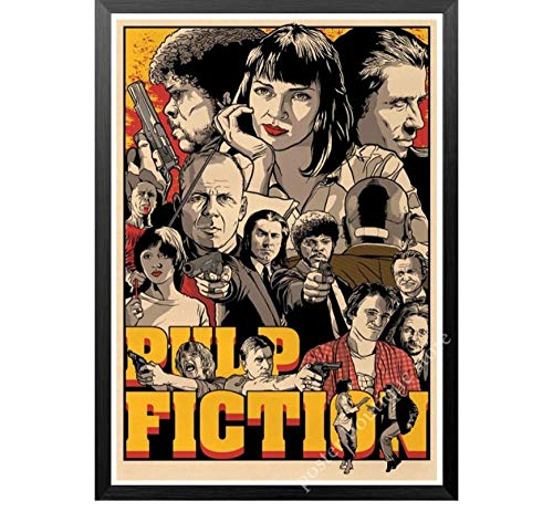 MTHONGYAO Poster Pulp Fiction Filmplakat Klassische Filmreihe Poster und Drucke Wandkunst Moderne Leinwand Malerei Wandbilder Wohnzimmer Wohnkultur 50 * 70cm No Frame