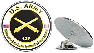 Veteran Pins U.S. Army MOS 13P Multiple Launch Rocket Systems Operations Fire Direction Specialist Metal 0.75