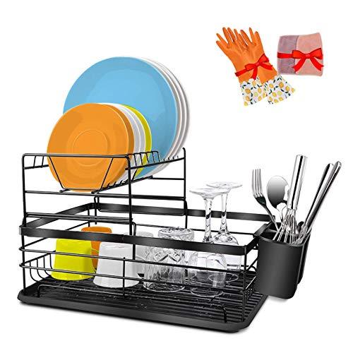 Abtropfgestell Geschirrständer Geschirrkorb mit Besteckkorb und Abtropfschale für Teller und Schüsseln Küchen(41,5x30x17,5)
