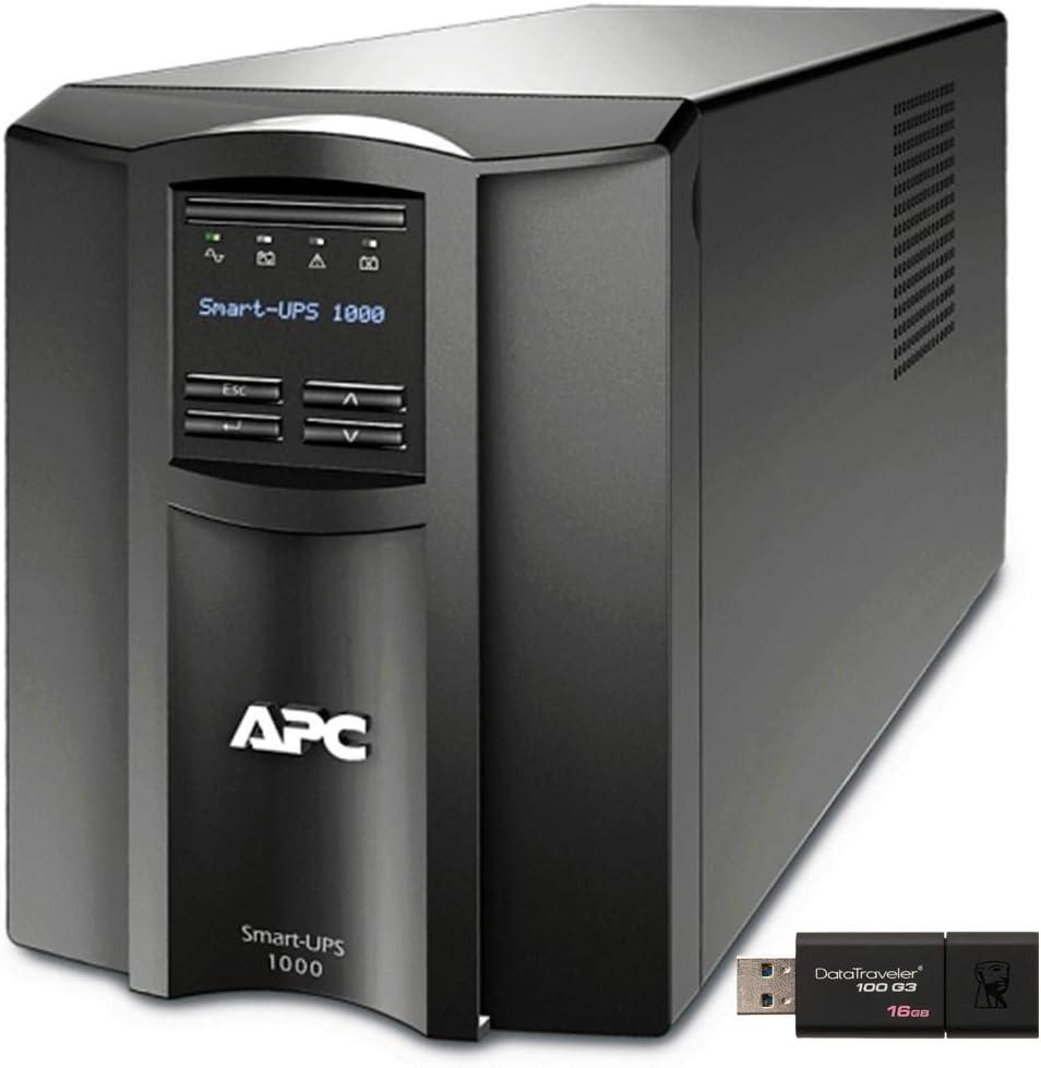 APC Smart-UPS SMT1000C Tower UPS Bundle with SmartConnect, and 16GB DataTraveler USB Drive