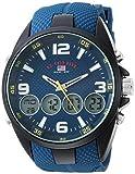 U.S. Polo Assn. Reloj analógico de cuarzo con correa de goma, azul, 27 (modelo: US9598)