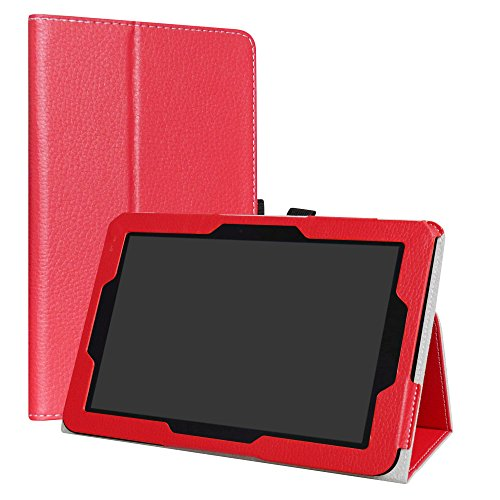 Verizon Ellipsis 10 Case,LiuShan PU Leather Slim Folding Stand Cover for 10' Verizon Ellipsis 10 Android Tablet,Red