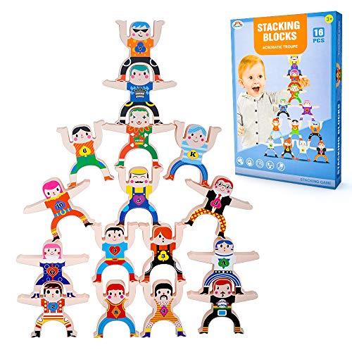 Wiwi Bloques de construcción para niños pequeños El Juego de Rompecabezas Hercules Doll Toys Contiene 16 Bloques, 4 Patrones de Adhesivos, 2 Modelos de Bolas pequeñas, un Manual, niños