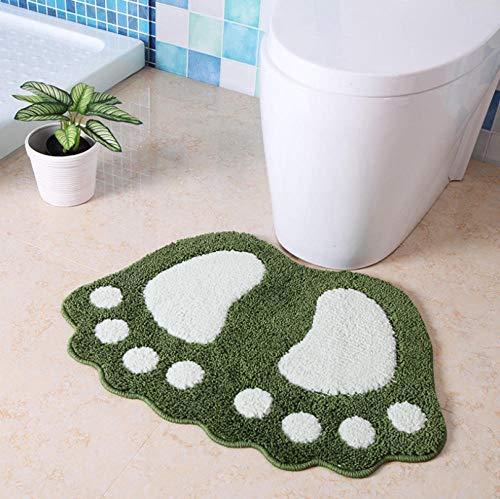 ZLMXM Teppiche Badezimmer Badvorleger Fußabdruck Badematten rutschfeste Badteppichmatte Wc-Badteppich Badauflage Teppiche Mikrofaser-Minimatten, Grün