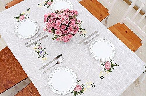 BLUELSS Tableau imprimé nappe en tissu de la table de Mariage Banquet Restaurant Accueil Table couvrant coton Floral Square table cloth,1150x220cm