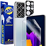 Armorsuit MilitaryShield 2 Pack Black Carbon Fiber Skin Camera Protector + Screen Protector for Samsung Galaxy S21 Ultra Case Friendly Anti-Bubble Film