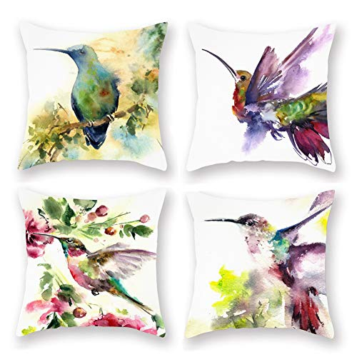 Aremetop 4 Pack Birds Outdoor Throw Pillow Covers Super Soft Watercolor Hummingbird with Floral Leaves Spring Decorative Cushion Cover 18''x18'' Square Pillow Cases Farmhouse Home Décor for Sofa Couch
