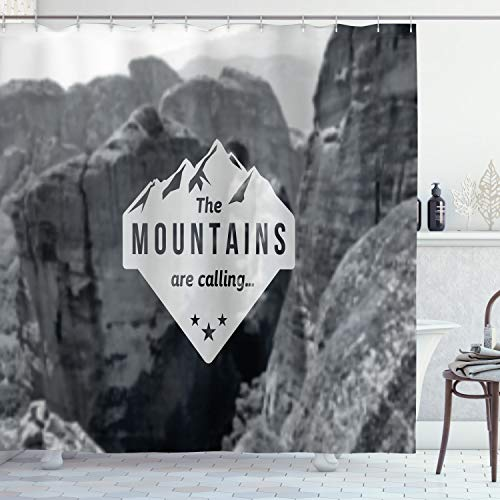 Ambesonne Adventure Shower Curtain, Mountains are Calling Landscape Picture with Motivational Words Artwork Print, Cloth Fabric Bathroom Decor Set with Hooks, 75