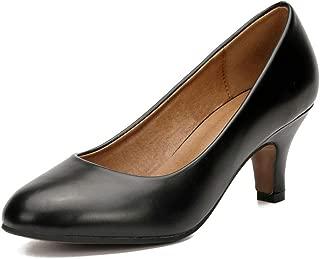 MAIERNISI JESSI Women's Classic Round Toe Pump Kitten Low Heel Shoes