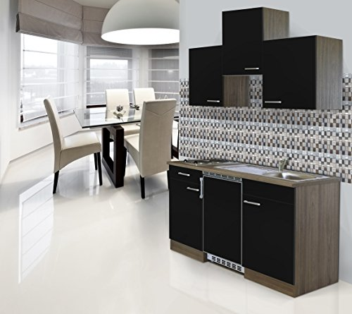 respekta Einbau Single Küche Küchenblock 150 cm Eiche York Nachbildung CERAN