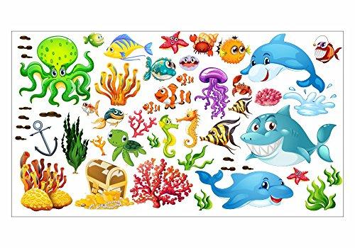 nikima - 059 Wandtattoo Wandbild Kinderzimmer Unterwasserwelt Fische Delfin Hai Korallen Nemo - in 6 Größen - Kinderzimmer Sticker Wandaufkleber niedliche Wandsticker Wanddeko Wandbild Junge Mädchen (1000 x 560 mm)