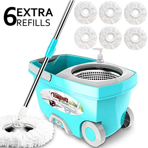 Tsmine Spin Mop Bucket System Stainless Steel Deluxe 360 Spinning Mop Bucket Floor Cleaning System with 6 Microfiber Replacement Head Refills,61'Extended Handle, 2x Wheel for Home Cleaning - Blue