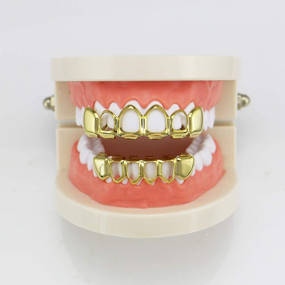 OOCC 18k Gold Plated Iced Out Grills with Diamond Nightclub Hip Hop Flat Teeth Grillz Caps Top and Bottom Set for Your Teeth