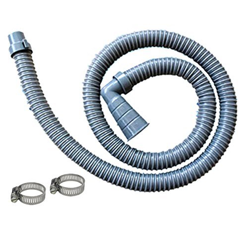 10 ft Washing Machine Discharge Hose, Fit outlet end 1-1/4, 1-1/3, 1-1/2, 1-2/3 Inch; Right Angle with 90 degree Elbow, Heavy-Duty Water Support, Flexible, Corrugated Design, Include 2 Steel Clamps