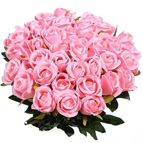 Veryhome 10 Stücke Künstliche Rosen Silk Blumen Gefälschte Flowers Braut Hochzeit Bouquet Für Hausgarten Geburtstag Party Home Wedding Dekor (Pink - Rosenknospe)