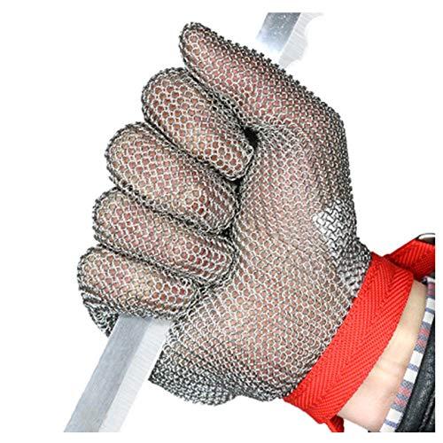 Schnittfeste Handschuhe 304L Edelstahl Cut-Resistant Handschuhe, Level 5 Schutzsicherheitshandschuhe, Einstellbare Armbandschnalle, 6 Größen (Size : X-Large)