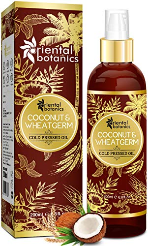 Oriental Botanics Organic Coconut & Wheat Germ Oil For Hair & Skin - 200ml (No Mineral Oil, Silicon or Paraben)