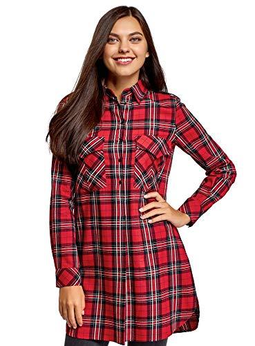oodji Ultra Mujer Vestido Camisa con Bolsillos