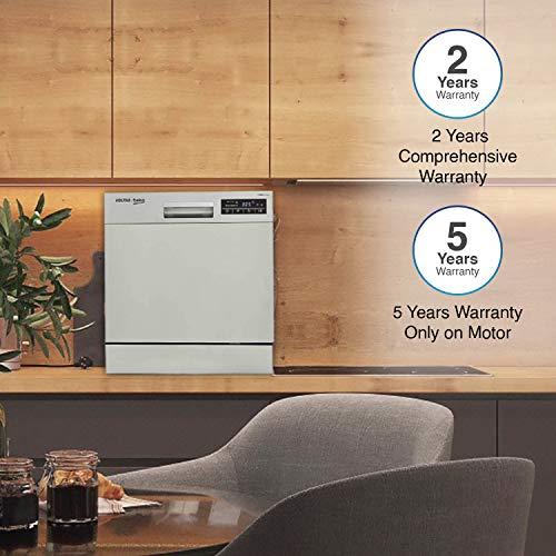 Voltas Beko 8 Place Table Top Dishwasher (DT8S, Silver, Inbuilt Heater, Adjustable Upper Shelf)